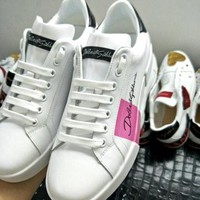 D&G Dolce & Gabbana Men's Women's Leather Fashion New Sneakers Shoes