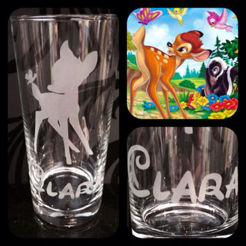 Personalised Disney Bambi Glass With Free Name Engraved. Totally Unique Gift For Any Disney Fan!!