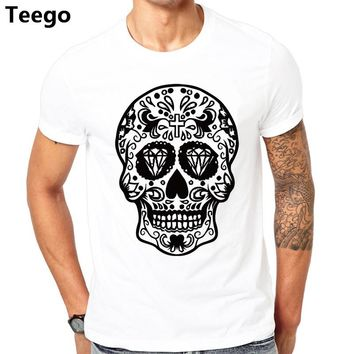 Vestidos verano  kanye west shirt for male Sugar mexican skull Print t shirt men fitness slim tt shirt man clothes cheap sale