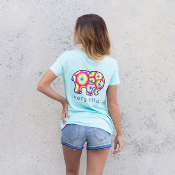 Perfect Fit Neon Mint Rainbow Tee