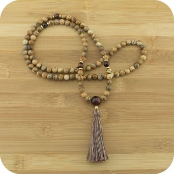 Wood Jasper Mala with Red Tigers Eye