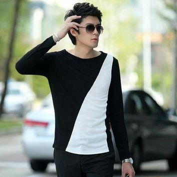 A new brand The privateMale slim Contrast color block o-neck long-sleeve T-shirt basic shirt male long-sleeve low collar t shirt
