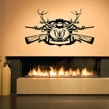 Exceptional Wall Decal Vinyl Sticker Room Tattoo Decor Hunting Deer Head With Guns 1376