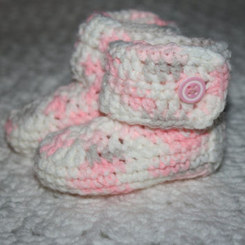 0-3 mo Baby Girl Pink Camo Baby Booties- Photo Prop