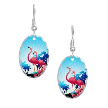 Pink Flamingos on Blue Tropical Landscape Earring