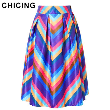 CHICING Women Midi Skirts 2016 Vintage Boho Colorful Rainbow Striped Print High Waist Summer Beach Pleated Flared Skirt A1602012