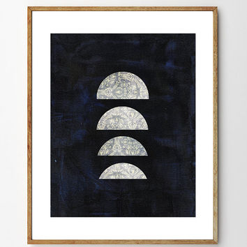 Four Moons - Moon Art, Moon Painting, Space Art, Nursery Art, Planets, Collage Art, Vintage Art