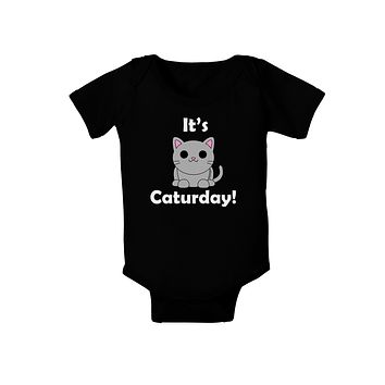 It's Caturday Cute Cat Design Baby Bodysuit Dark by TooLoud