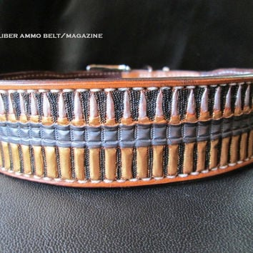 Handmade leather dog collar with 50 caliber ammo belt