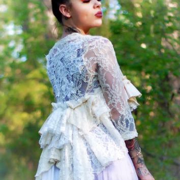 Lace Crochet kimono duster, shabby country chic, True Rebel Clothing