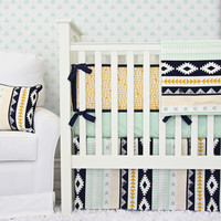 Gold and Mint Aztec Baby Bedding | Aztec Crib Bedding Set