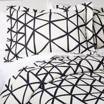 Handrawn Geo Duvet Cover Set White/Navy (Full/Queen) - Nate Berkus™ : Target
