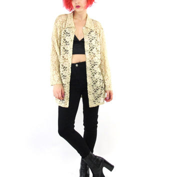 90s Grunge Lace Shirt Nude Beige Sheer Lace Blouse Long Sleeve Button Down Shirt Collar Layering Top Feminine See Through Floral Lace (M/L)