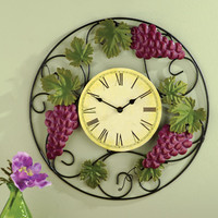 Grapevine Kitchen Wall Clock Decor
