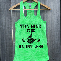 Training To Be Dauntless Fire Athletic Burnout Racerback Tank Top