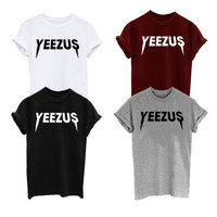 YEEZUS Men/Women T-shirt New Brand Graphic Letter Printed Top Tee Concert Unisex Rock Ticket Tour Kanye West Rap Men's Clothing