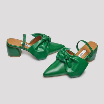 ORIANA EVERGREEN LEATHER MID-HEELS