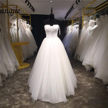Custom Made A-Line Wedding Dresses 2018 Boat Neck Sleeveless Lace Up Floor Length Satin and Tulle Wedding Gowns Robe De Mariage