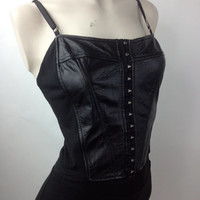 90's Leather Goth Moto Crop Tank Top