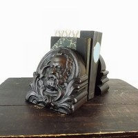 Large Wood Carved Face Bookends, Galileo or Grant, Bearded Man, Home Library Decor