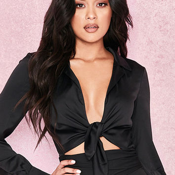 Clothing : Bodysuits : 'Ornella' Black Silky Shirt Bodysuit