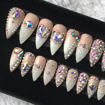 Swarovski Ombre Press on Nails | Genuine Swarovski | Swarovski Pixie | French Tip |AB Crystals | False Nails | Custom Shapes and Sizes