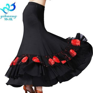 Ladies Flamenco Dance Costume Skirt Ballroom Dancing Dress Standard Modern Waltz Tango Performance Stage Outfits #2790