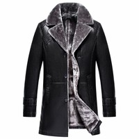Winter Blazer Collar Men Leather Jacket With Fur Collar Long Excellent