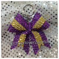 Purple and Gold Rhinestone Keychain Holders Bow Ribbon Cheer Dance (Customizable Colors)