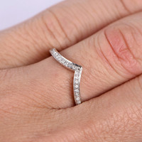 Round Diamond Wedding Ring Half Eternity Solid 14K White Gold Anniversary Ring Art Deco Curved Chevron V Matching Band