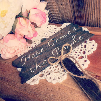 Here Comes The Bride Sign Rustic Wood Here Comes The Bride Sign Flower Girl Sign Wood Rusitc Wedding Decor