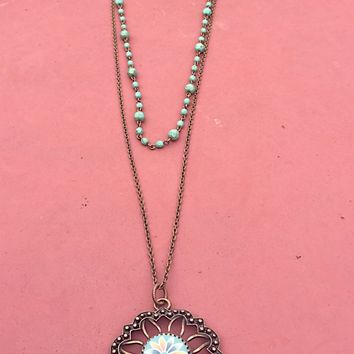 Layared Brass Chain  and Pendant With a Turquoise Rosary Chain