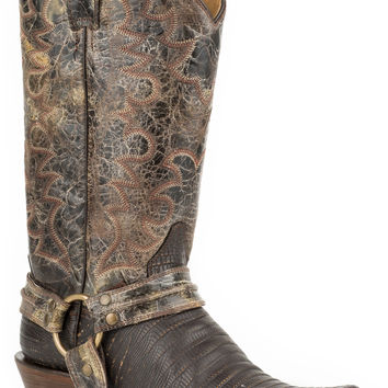 Roper Mens Bandit Toe Harness Boots Faux Brown Teju Brown Shaft