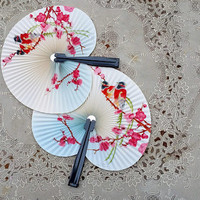 Vintage Chinese Cockade Fans Songbirds Cherry Blossom Tree