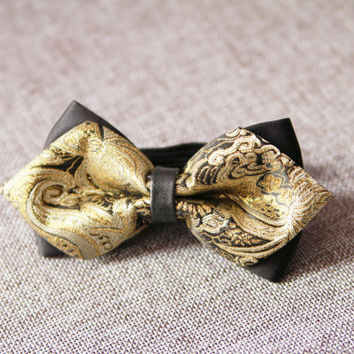 Black Gold Floral Bow Tie Bowtie - Pre-tied Double Bows Flower - Men Boy Toddler Child