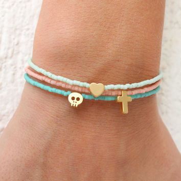 Tiny Charm Bracelets - Beaded Bracelets with charm - Pastel Bracelets - Tiny Skull Bracelet - Tiny Heart - Tiny Cross - Tiny Star