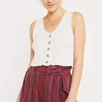 UO Johnny Striped Belted Paperbag Shorts | Urban Outfitters