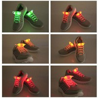 DCC3W Shoelace Party Skating Charming LED Flash Light Up Glow Shoe Laces Shoestrings Flashing Colored Neon Luminous for men women