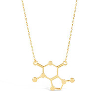 Gold Caffeine Molecule Necklace - Unique Science DNA Pendant Necklace for Coffee Lovers