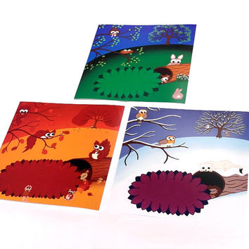 """Set of 3 Cute Animal Prints - 8"""" square nursery art. Season landscapes of winter, spring and autumn scenes with squirrels, rabbits and robin"""