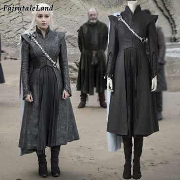 Game of Thrones Season 7 Daenerys Targaryen cosplay costume with cloak boots Fancy cosplay Dragon Daenerys Targaryen dress suit