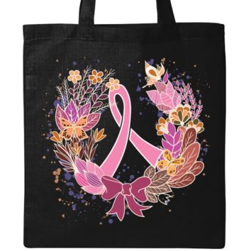 Breast cancer awareness wreath ribbon Tote Bag $15.99 www.inktastic.com