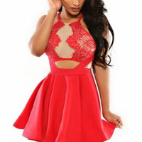 Red Halterneck Skater Dress with Pleated Skirt