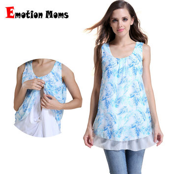 Emotion Moms Summer Chiffon Maternity Clothes Breastfeeding Tops for Pregnant Women Maternity T-shirt Nursing Tank Tops