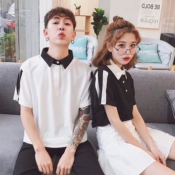 Women's T-Shirt Summer O-Neck Harajuku Tee Turn-down Collar Short-sleeve Top Bottoming Fashion Tee Shirt HTtb02