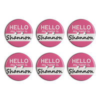 Shannon Hello My Name Is Plastic Resin Button Set of 6