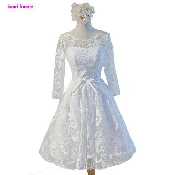 Real Pictures Ivory Cocktail Dresses 2017 New Scoop Lace prom Dress Long Sleeves Short Party Robe De Cocktail Homecoming Dresses