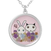 Cute Animal Pendant Necklaces for Little Girls: BFF - Best Friends Forever: Kawaii Bunny and Kitten