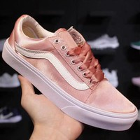 Trendsetter Vans Pink Heart Canvas Old Skool Flat Sneakers Sport Shoes