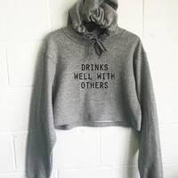 Drinks Well With Others Cropped Hoodie
